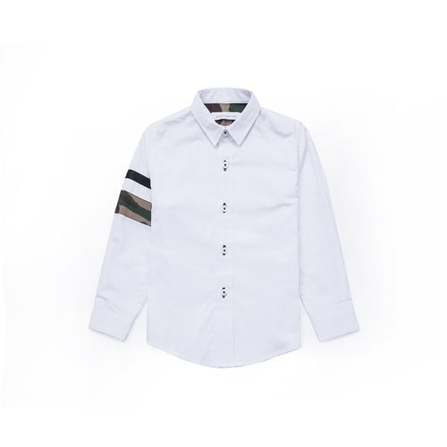 Camouflage Details Long Sleeve Shirt- Pebble White
