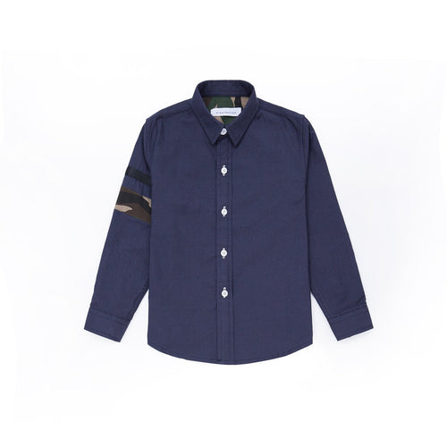 Camouflage Details Long Sleeve Shirt - Navy
