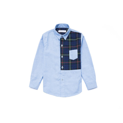 Half Check Long Sleeve Shirt - Waterfall