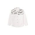 Camouflage Patchwork Oxford Shirt- Pebble White