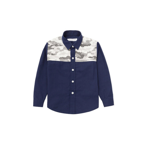 Camouflage Patchwork Oxford Shirt - Waterfall