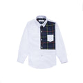 Half Check Long Sleeve Shirt - Pebble White