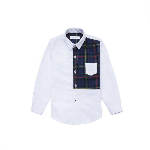 Camouflage Patchwork Oxford Shirt - Pebble White