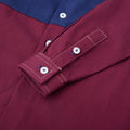 Color Block Across Long Sleeve Shirt - Burgundy Port