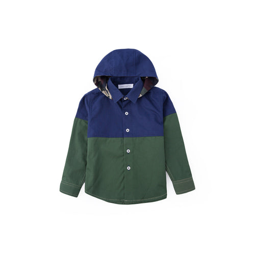 Color Block Across Long Sleeve Shirt - Juniper Green