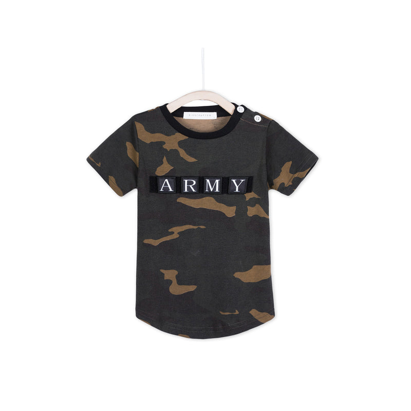 Curved Tee - Army Print