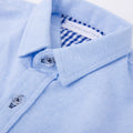Gingham Detail Long Sleeve Shirt - Cornflower Blue