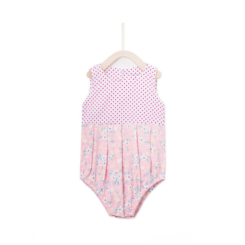 Polka Flora Dress Romper - White