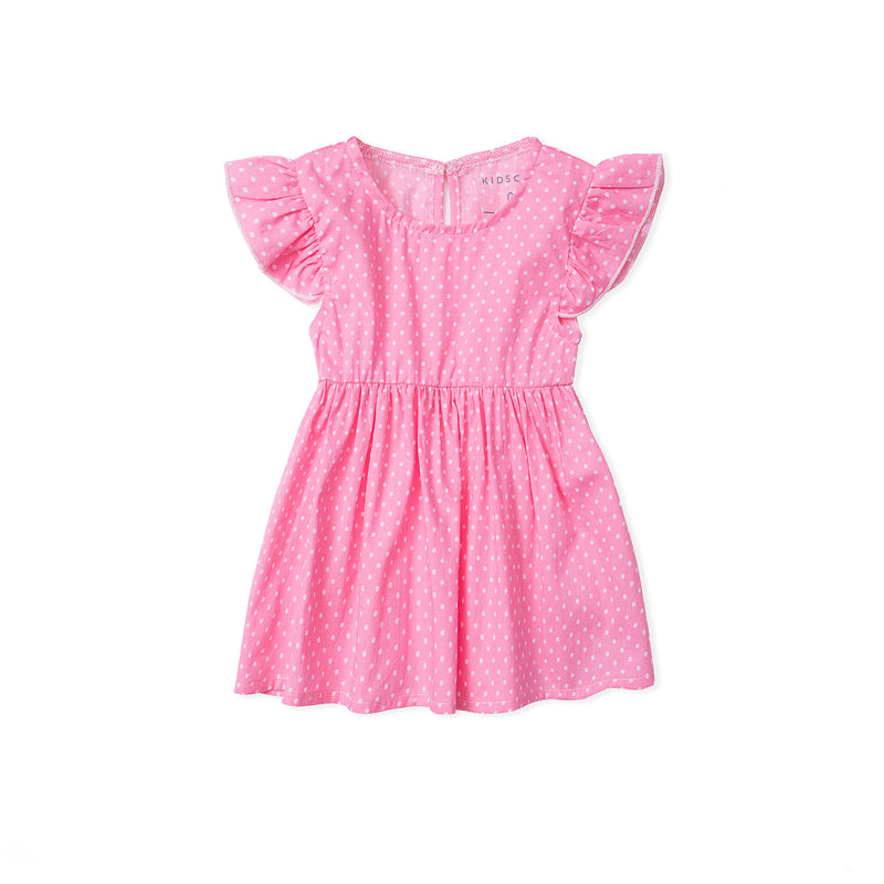 Polka Dot Dress Romper with Bloomer - Pink