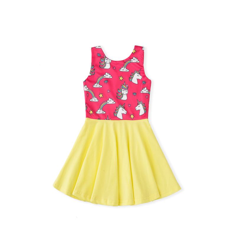 Rainbow and Unicorns Dress - Pink
