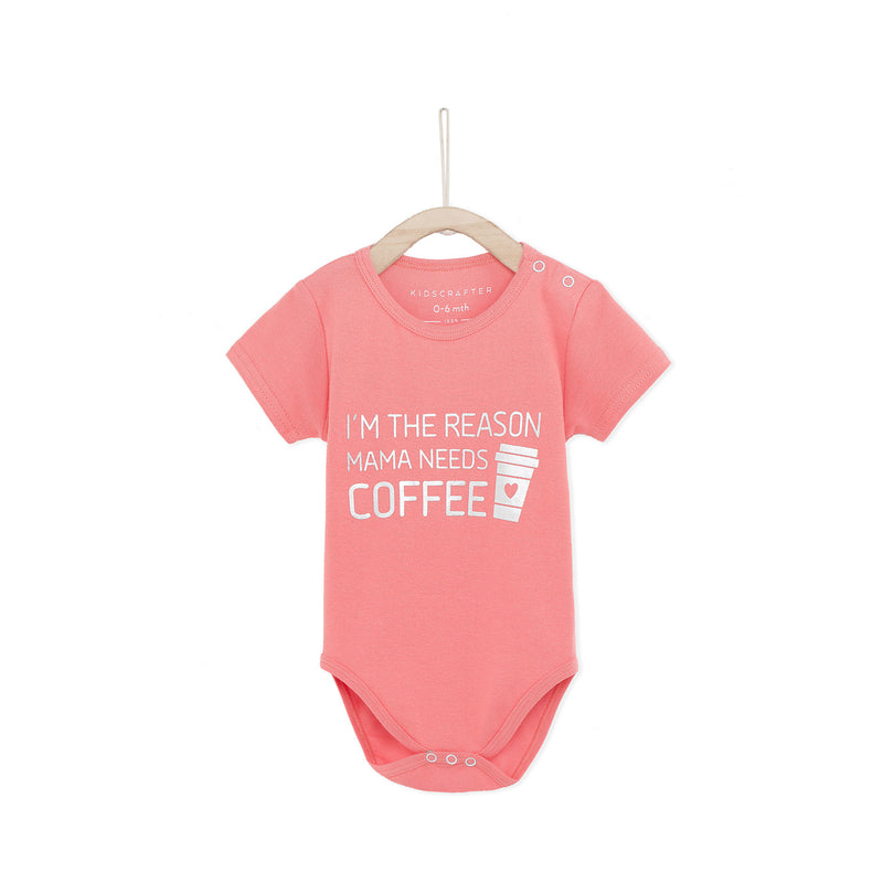I'm The Reason Mama Needs Coffee Baby Romper - Pink