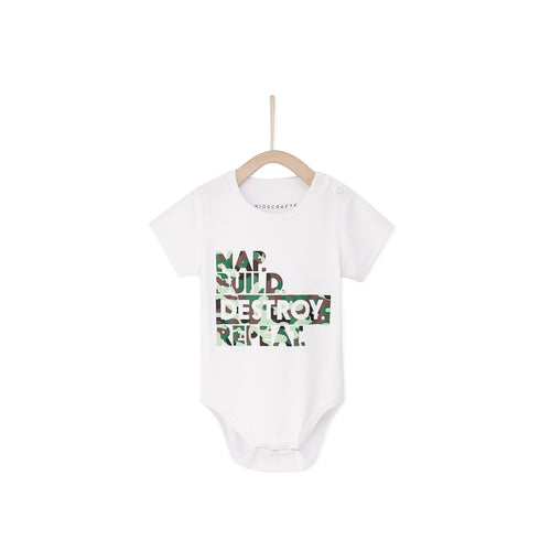 Nap Build Destroy Baby Romper- White