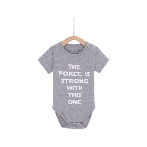 The Force Is Strong With This One Baby Romper - Light Gray