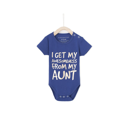 I Get My Awesomeness From My Aunt Baby Romper - Blue