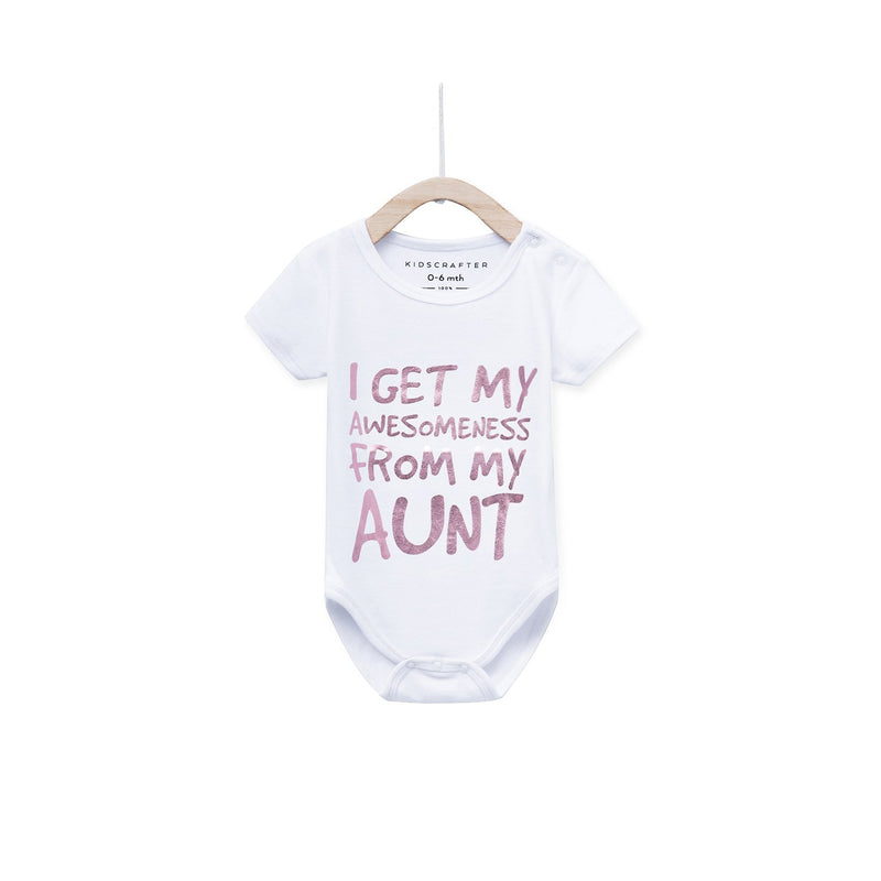 I Get My Awesomeness From My Aunt Baby Romper - White