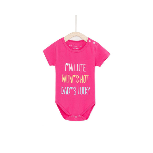 I'm Cute, Mom's Hot, Dad's Lucky Baby Romper - Magenta