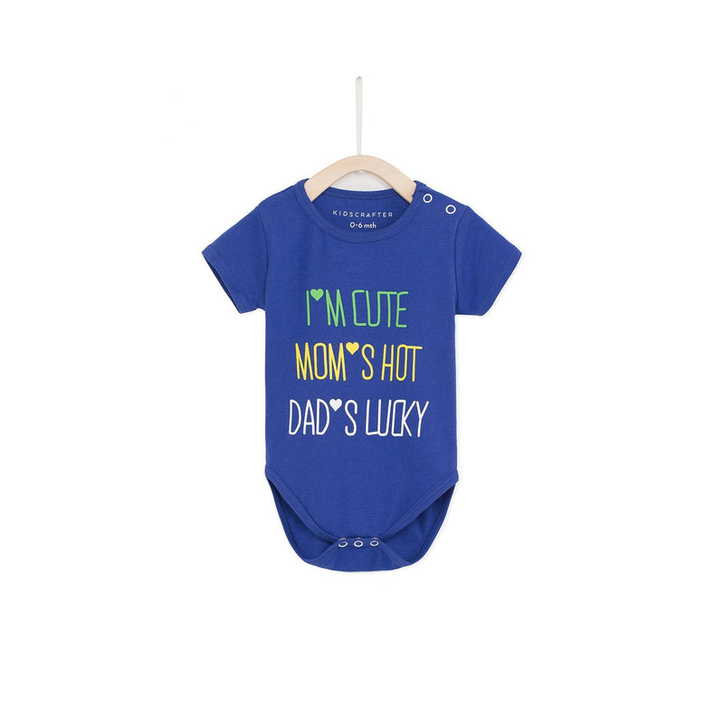 I'm Cute, Mom's Hot Dad's Lucky Baby Romper - Blue