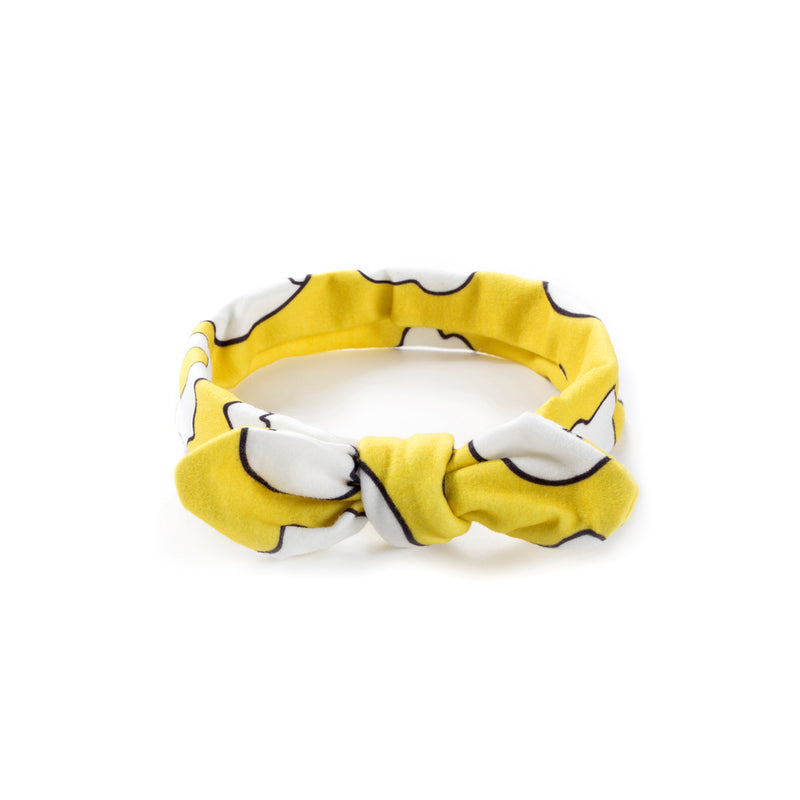 Baby Girl Bow Headband - Funky Yellow