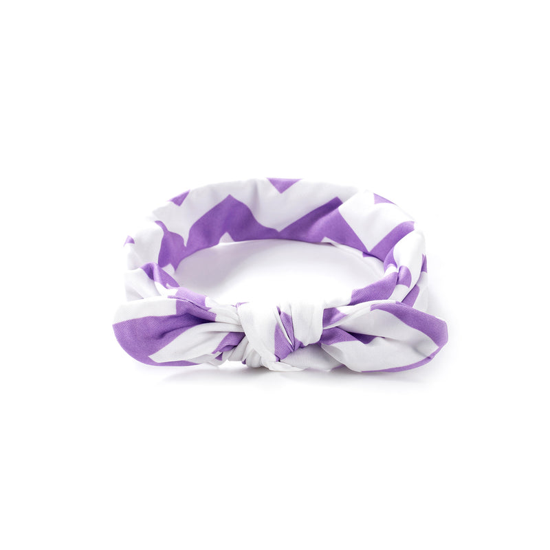 Baby Girl Bow Headband - Lilac Print