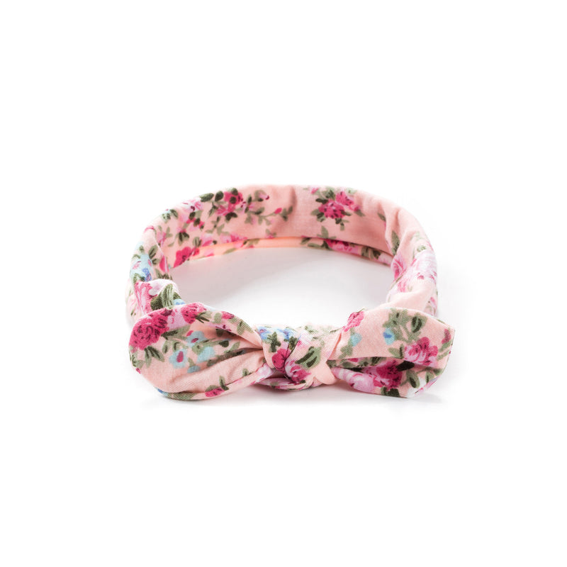 Baby Girl Bow Headband - Pastel Pink Wildflowers