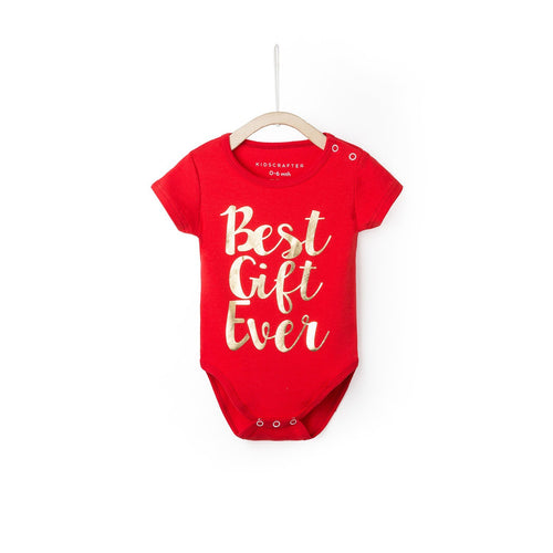 Best Gift Ever Baby Romper - Red