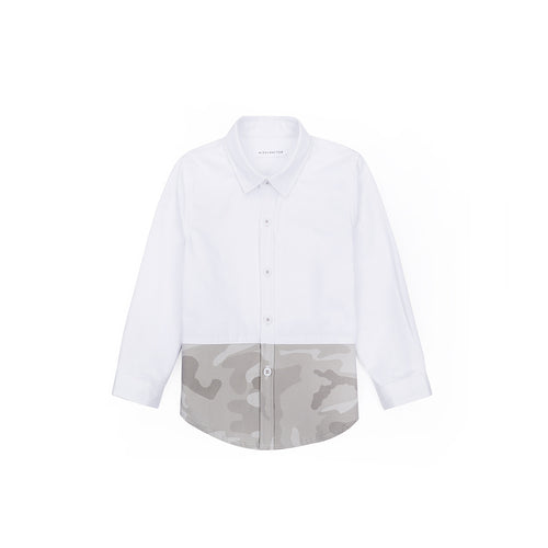 Camo Hem Long Sleeve Shirt - Pebble White