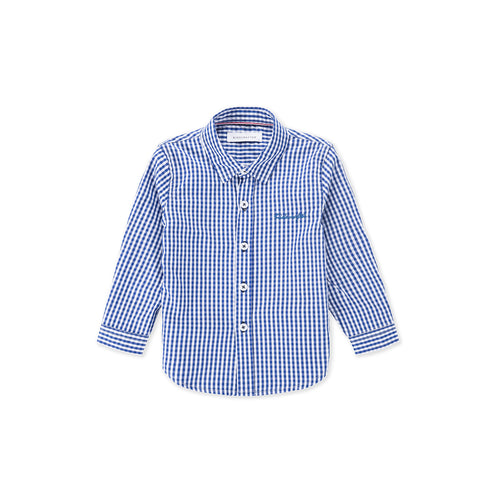 Gingham Check Long Sleeve Shirt - Nautical Blue
