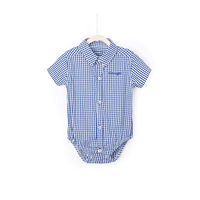 Gingham Check Shirt Romper - Navy