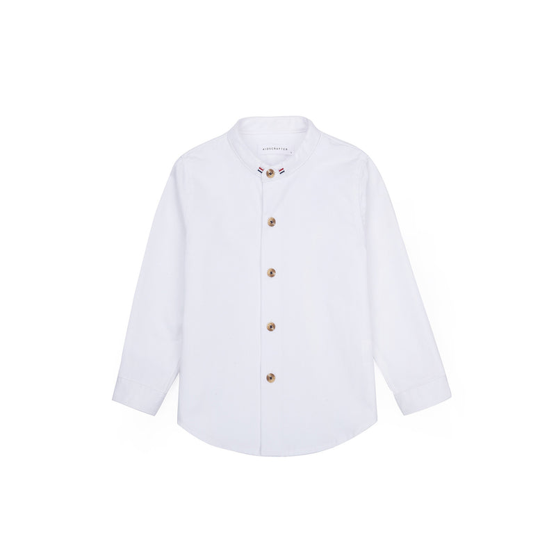 Grosgrain Band Collar Long Sleeve Shirt - Concrete White