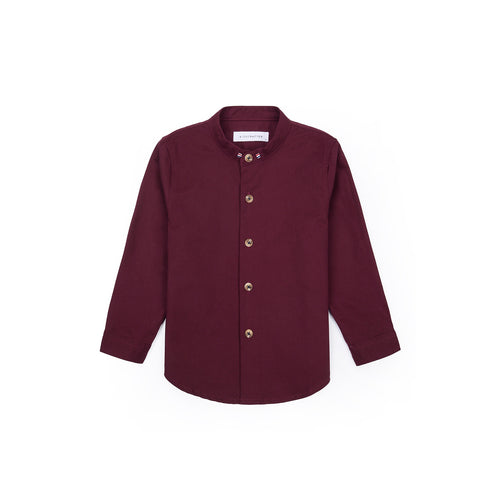 Grosgrain Band Collar Long Sleeve Shirt - Deep Maroon
