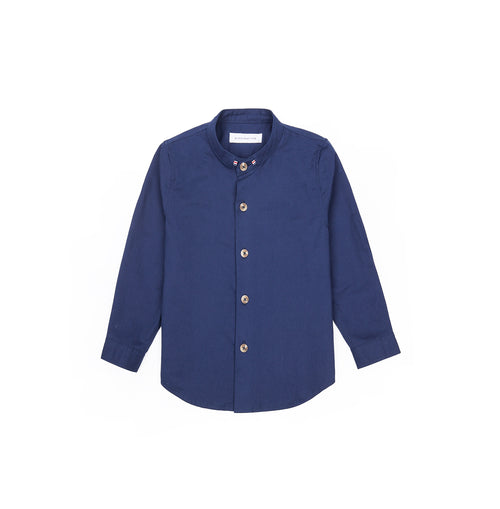 Grosgrain Band Collar Long Sleeve Shirt - Rich Blue