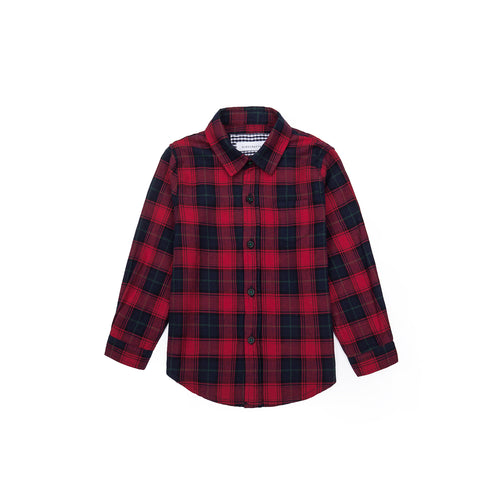 Modern Tartan Long Sleeve Shirt - Autumn Red