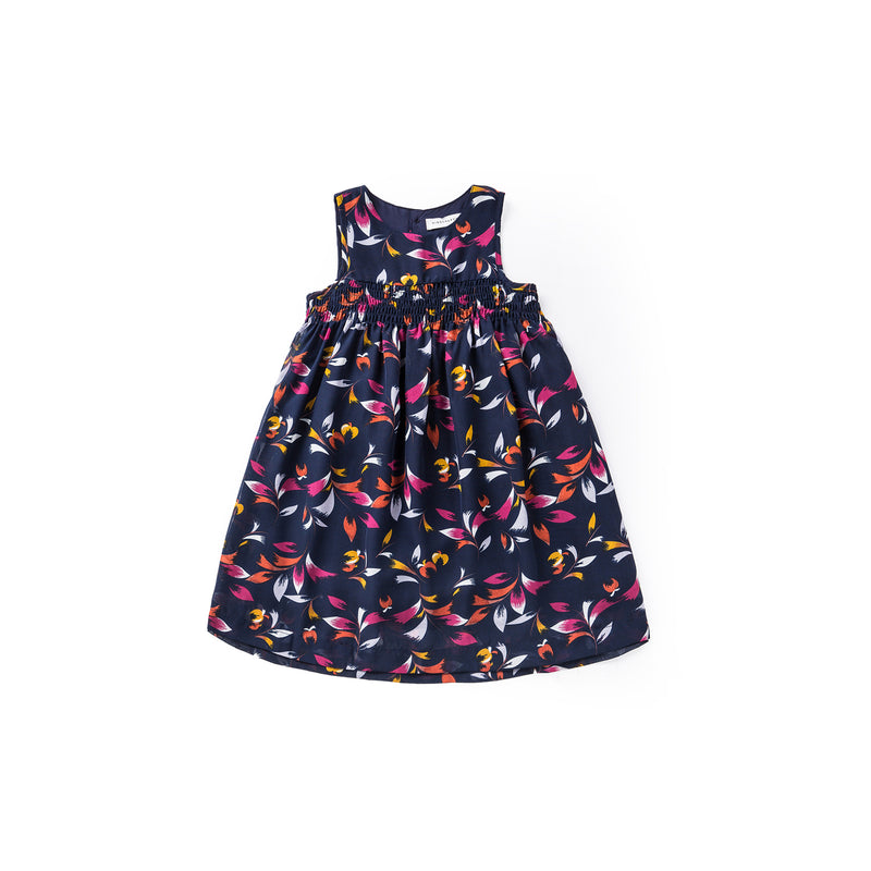 Soft Floral Babydoll Dress - Midnight Blue