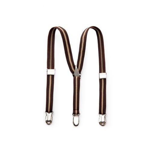 Elastic Clip Suspenders - Brown Stripe