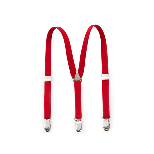 Elastic Clip Suspenders - Red