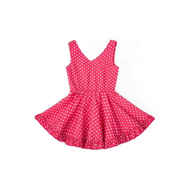 Petite Hearts Print Sleeveless Dress - Candy Apple