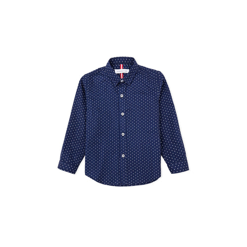 Polkadots Long Sleeve Shirt -Blue