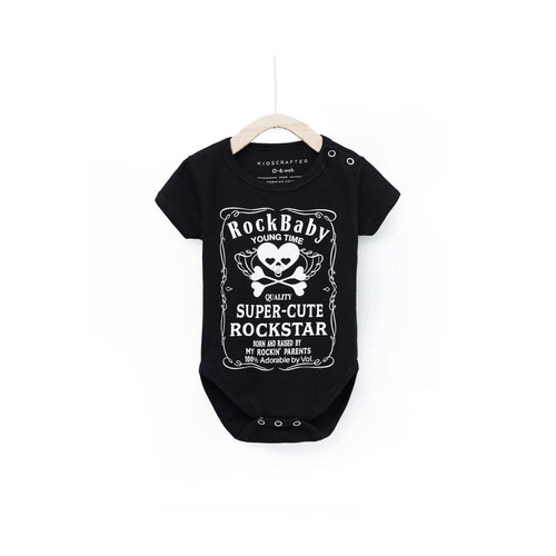 Rock Baby Baby Romper - Black