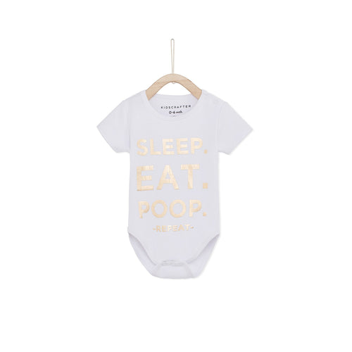 Sleep. Eat. Poop, Repeat Baby Romper- White