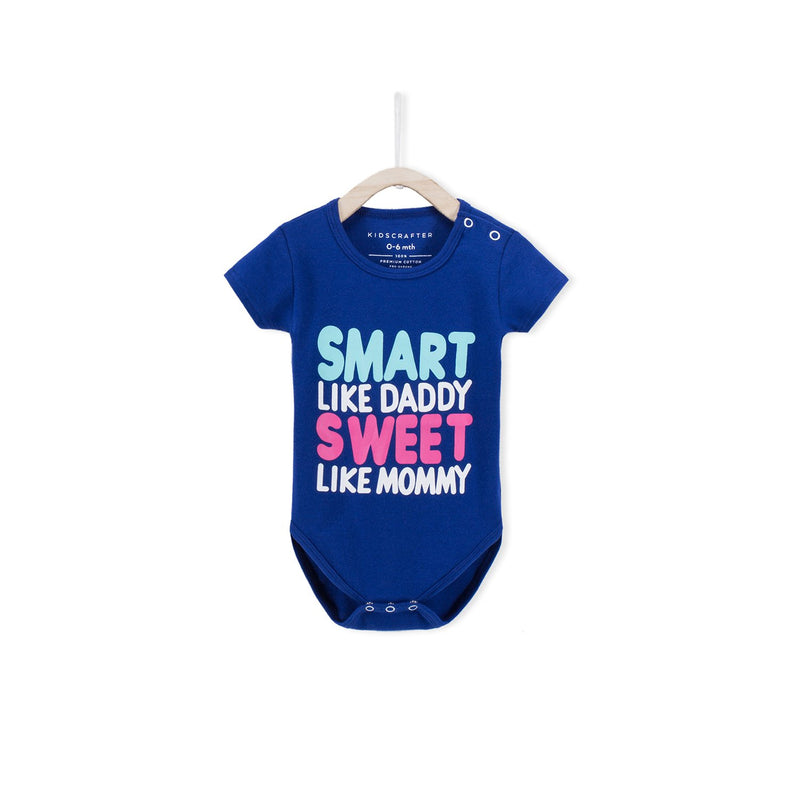 Smart Like Daddy Sweet Like Mummy Baby Romper- Blue