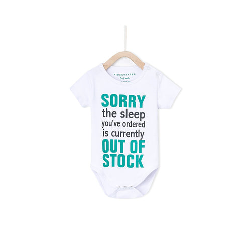 Sorry The Sleep You've Ordered Is Currently Out Of Stock Baby Romper- White