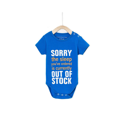 Sorry The Sleep You've Ordered Is Currently Out Of Stock Baby Romper- True Blue