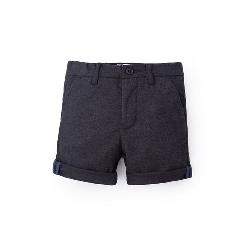 Textured Cotton Bermuda - Cold Black