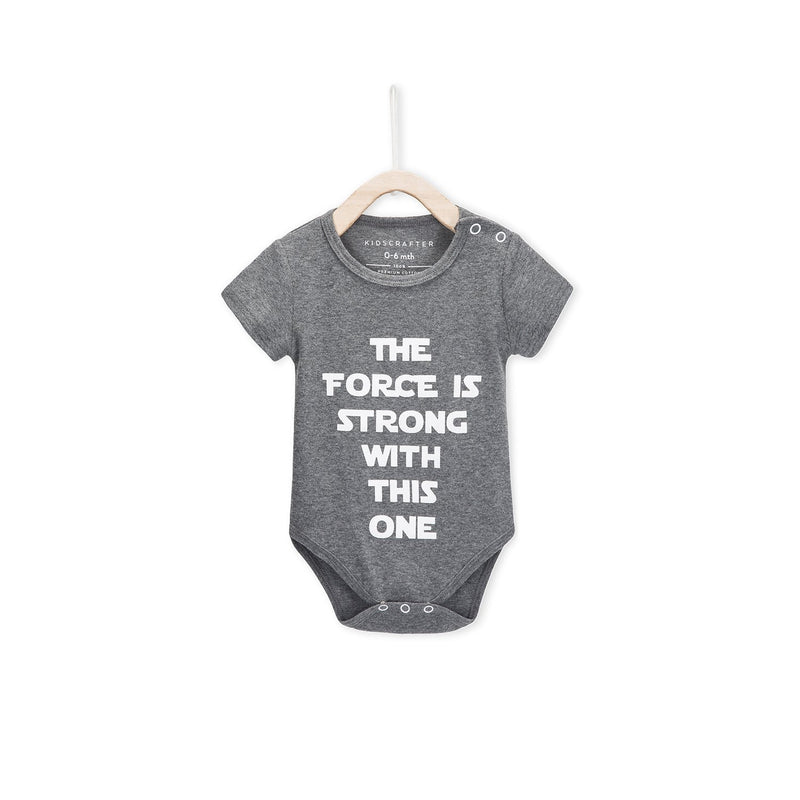 The Force Is Strong With This One Baby Romper - Gray