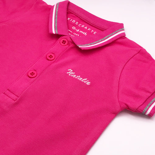 Tipped Pique Polo Romper Customised Name Embroidery