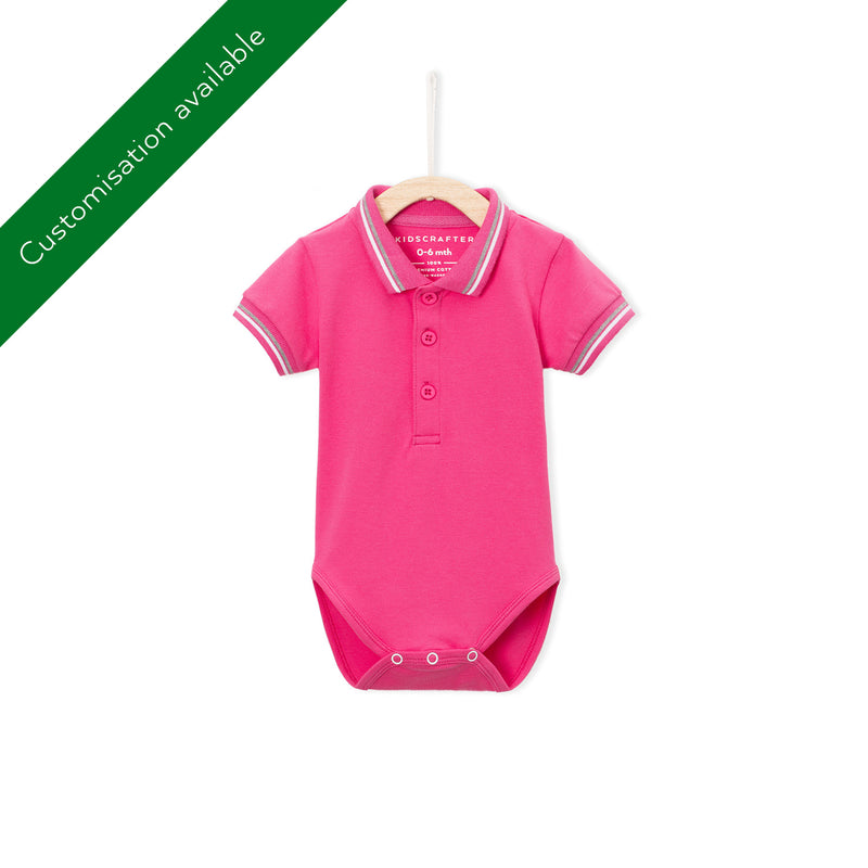Tipped Pique Polo Romper - Hot Pink