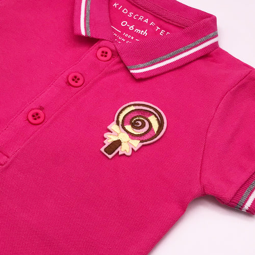 Tipped Pique Polo Romper Iron on badge