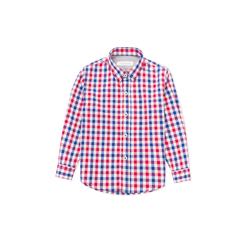 KC Two Tone Checked Long Sleeve Shirt - Blue