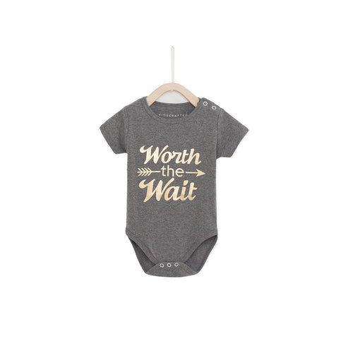 Worth The Wait Baby Romper - Gray