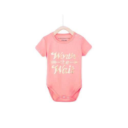 Worth The Wait Baby Romper - Pink
